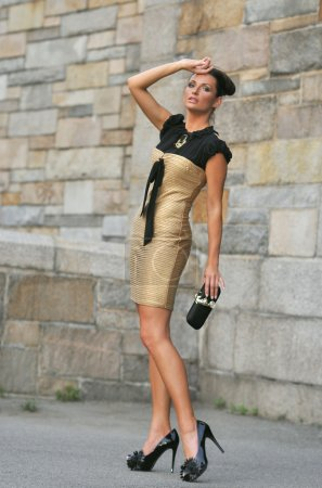 Portrait of fashion model wearing gold dress