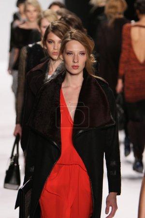 NEW YORK - FEBRUARY 10: A Models walk runway for Rebecca Minkoff Fall Winter 2012 presentation in Lincoln Center during New York Fashion Week on February 10, 2012