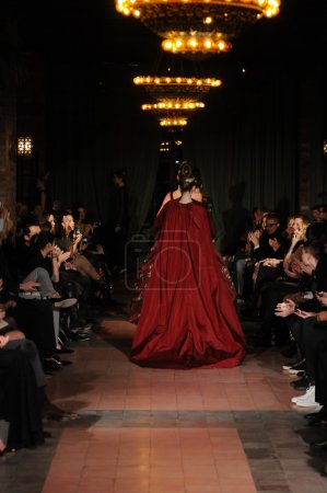 Photo for NEW YORK, NY - FEBRUARY 10: Model walks the runway at the Victor de Souza Fall Winter 2012 fashion show during Mercedes-Benz Fashion Week at Bowery hotel on February 10, 2012 - Royalty Free Image