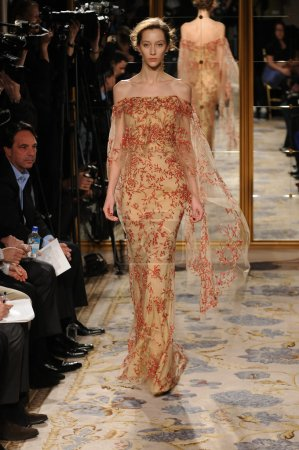 NEW YORK - FEBRUARY 15: A Model walks runway at Marchesa Fall Winter 2012 presentation at Plaza hotel during New York Fashion Week on February 15, 2012 in NYC.