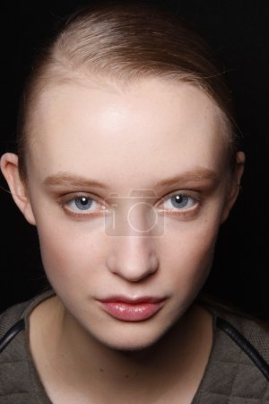 PARIS, FRANCE - MARCH 03: A beauty face shots of models backstage before the Barbara Bui Ready to Wear Autumn Winter 2011 2012 show during Paris Fashion Week at Pavillon Concorde on March 3, 2011 in P