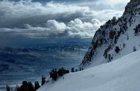 On the top of the World - Snow and Sky. Snowbasin mountain, Utah