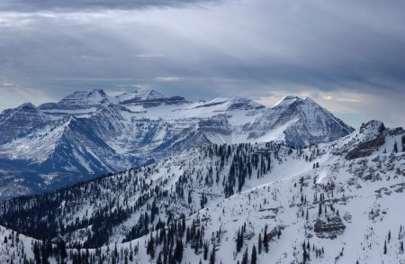 Spectacular view to the Mountains from summit of Alta ski resort in Utah
