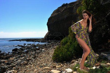 Model posing in transparent dress at oceanside