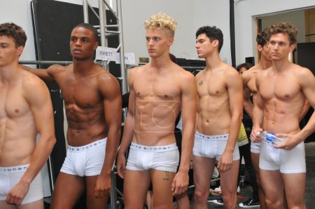 Models pose backstage at the Parke & Ronen show