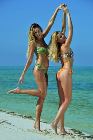 Two bikini models posing sexy at tropical beach