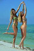 Two bikini models posing sexy at tropical beach