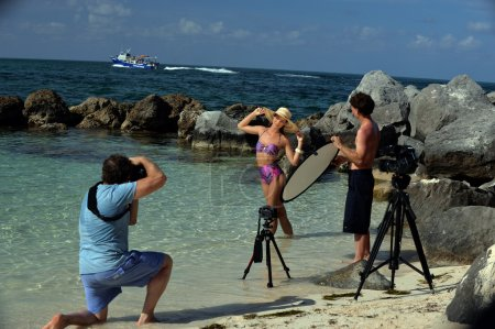 Swimsuit model at location shoot