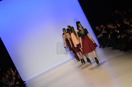 Photo for NEW YORK, NY - FEBRUARY 09: Models walk the runway finale at the Meskita fashion show during Mercedes-Benz Fashion Week Fall 2014 at Lincoln Center on February 9, 2014 in New York City. - Royalty Free Image