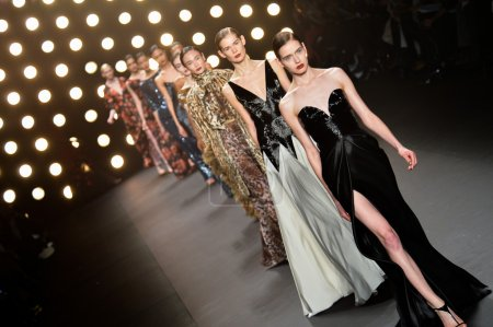 Model walks runway at Naeem Khan collection