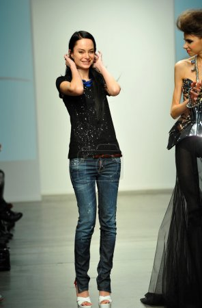 Fashion designer Leka with model