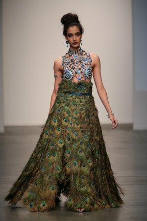 Model walks runway at Gail Be show