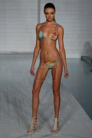 Model walks at San Lorenzo Swimwear collection during MBFW Miami Swim