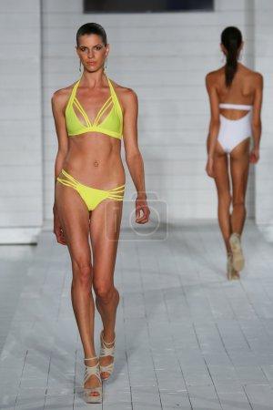 Model walks at Keva J. collection at SoHo Beach House