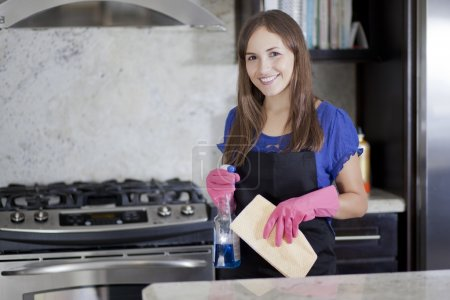 Young smiling woman in pink rubber gloves and black apron standing in the kitchen holding duster and cleanser