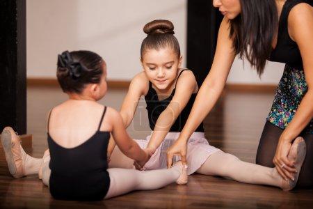 Little girls in a ballet class