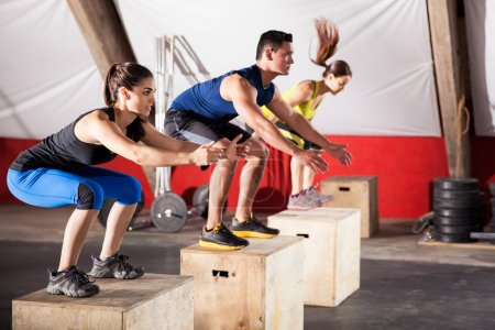 Jumping exercises at a gym