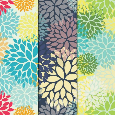 Group of three floral seamless pattern