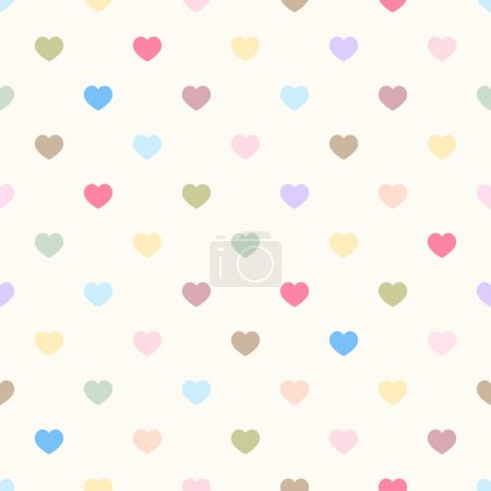 Vector seamless geometric pattern with small polka dot hearts