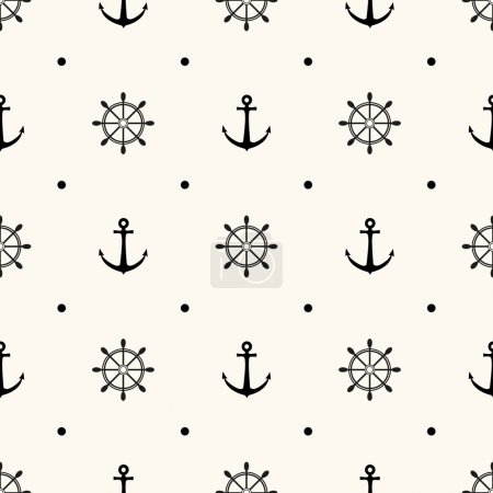 Illustration for Vector seamless retro pattern, polka dot with anchors and wheels. Can be used for wallpaper, pattern fills, web page background - Royalty Free Image