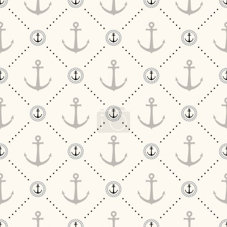 Illustration for Vector seamless retro pattern, polka dot with anchors in rope circles. Can be used for wallpaper, pattern fills, web page background - Royalty Free Image