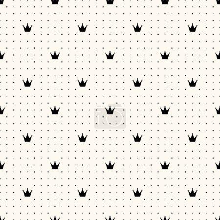 Photo pour Modèle rétro sans couture vectoriel, avec couronnes. Peut être utilisé pour le papier peint, remplissage de motifs, fond de page Web, textures de surface - image libre de droit