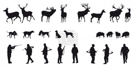 Hunter with dog hunting animals in the forest - black and white silhouette