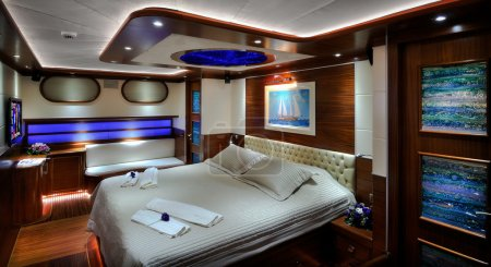 Bedroom of luxury sailboat