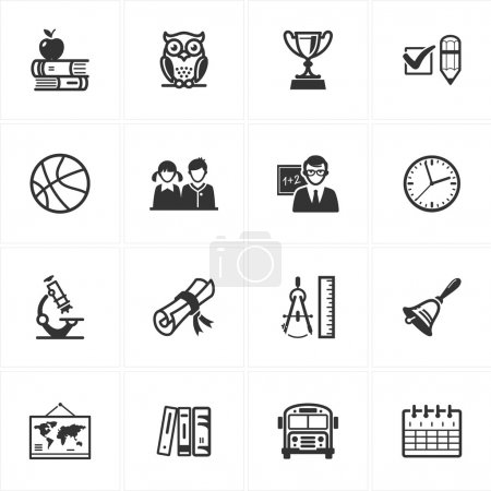 Illustration for Set of 16 education icons great for presentations, web design, web apps, mobile applications or any type of design projects. - Royalty Free Image