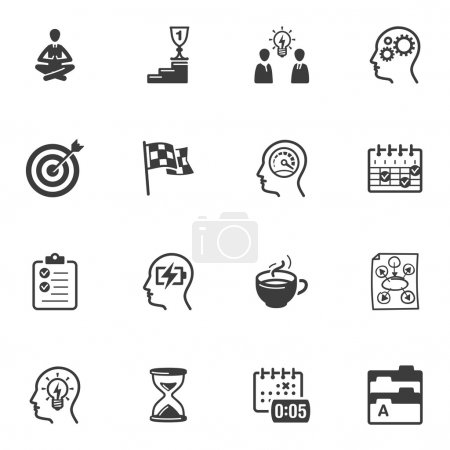 Illustration for Set of 16 productive at work icons great for presentations, web design, web apps, mobile applications or any type of design projects. - Royalty Free Image