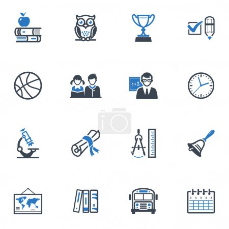 School and Education Icons Set 3 - Blue Series