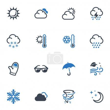 Illustration pour Ensemble de 16 icônes météo idéales pour les présentations, la conception Web, les applications Web, les applications mobiles ou tout type de projet de conception . - image libre de droit