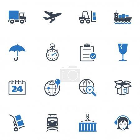 Ilustración de Conjunto de iconos de 16 logística ideales para presentaciones, diseño web, aplicaciones web, aplicaciones móviles o cualquier tipo de proyectos de diseño. - Imagen libre de derechos