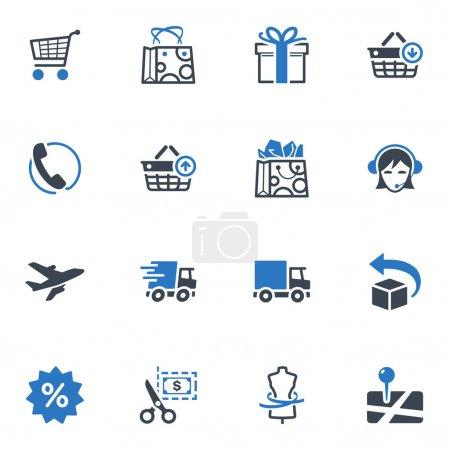 Illustration pour Ensemble de 16 icônes d'achats et de commerce électronique idéales pour les présentations, la conception Web, les applications Web, les applications mobiles ou tout type de projet de conception . - image libre de droit