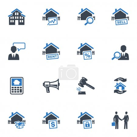 Illustration for Set of 16 real estate icons great for presentations, web design, web apps, mobile applications or any type of design projects. - Royalty Free Image