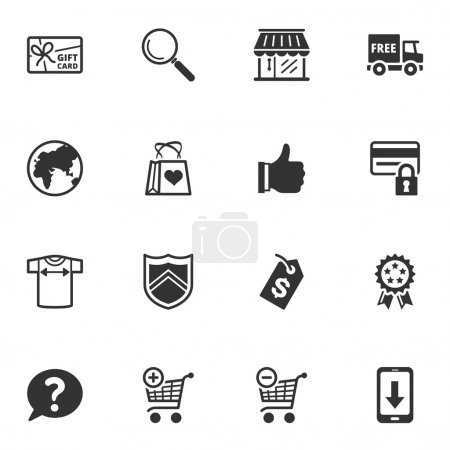 Illustration for Set of 16 shopping and e-commerce icons great for presentations, web design, web apps, mobile applications or any type of design projects. - Royalty Free Image