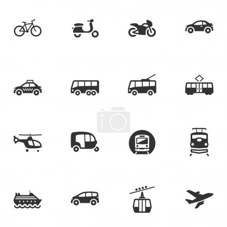 Illustration for Set of 16 transportation icons, great for presentations, web design, web apps, mobile applications or any type of design projects. - Royalty Free Image