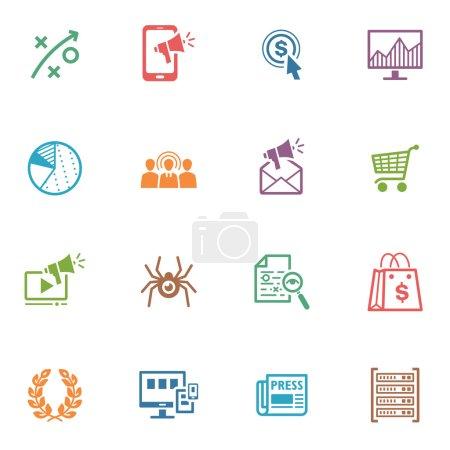 Illustration pour Cet ensemble contient 16 seo et icônes qui peuvent être utilisés pour concevoir et développer des sites Web, ainsi que la documentation imprimée et présentations de marketing internet. - image libre de droit