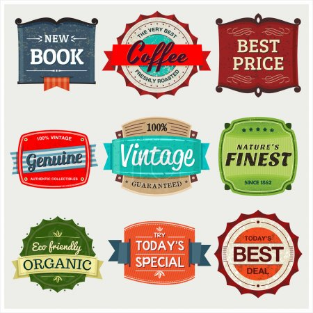 Illustration for A collection of 9 vintage labels, perfect to showcase and promote your products. - Royalty Free Image