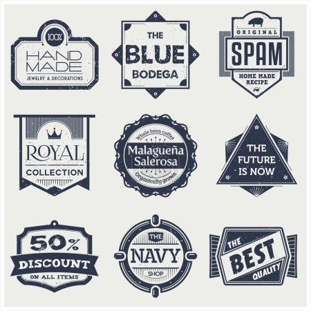 Ilustración de Una colección de 9 monocromas etiquetas vintage, perfectas para exhibir y promocionar sus productos - Imagen libre de derechos