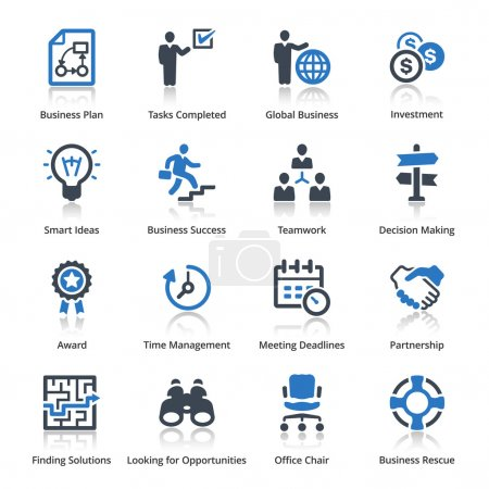 Illustration for This set contains 16 business icons that can be used for designing and developing websites, as well as printed materials and presentations. - Royalty Free Image