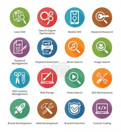 SEO & Internet Marketing Icons Set 1 - Long Shadow Series
