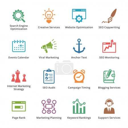 Illustration for This set contains 16 SEO and Internet Marketing icons that can be used for designing and developing websites, as well as printed materials and presentations. - Royalty Free Image