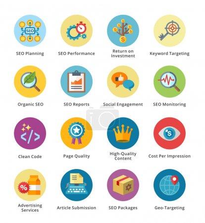 SEO & Internet Marketing Flat Icons Set 4 - Bubble Series