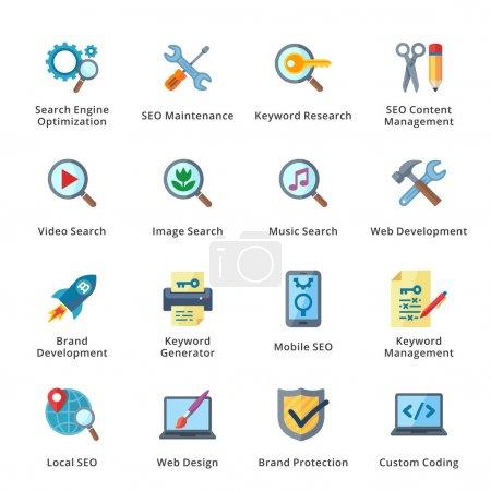 Illustration pour Cet ensemble contient 16 SEO et Internet Marketing Flat Icons qui peuvent être utilisés pour la conception et le développement de sites Web, ainsi que des documents imprimés et des présentations . - image libre de droit