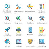 This set contains 16 SEO and Internet Marketing Flat Icons that can be used for designing and developing websites as well as printed materials and presentations