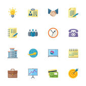 This set contains 16 flat style business & office icons that can be used for designing and developing websites as well as printed materials and presentations