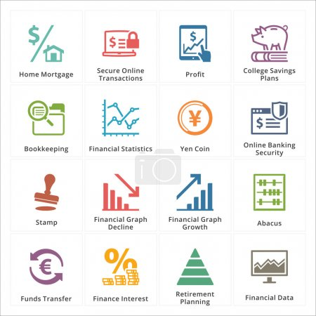 Illustration for This set contains 16 personal & business finance icons that can be used for designing and developing websites, as well as printed materials and presentations. - Royalty Free Image
