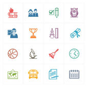 This set contains 16 school and education icons that can be used for designing and developing websites as well as printed materials and presentations
