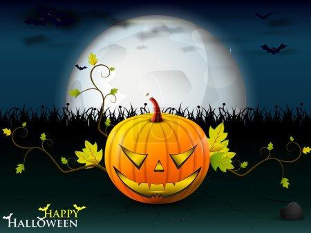Halloween party with orange pumpkin